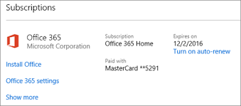 microsoft office 365 home. shows the subscriptions page with automatic renewal turned off microsoft office 365 home