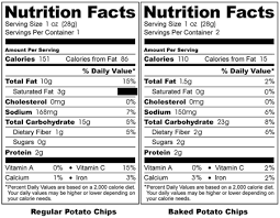 take a look at the serving size information for the bags of chips what important piece of information do you notice for the baked potato chips