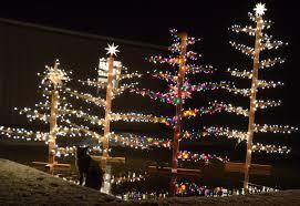 outdoor lighted cartoon trees