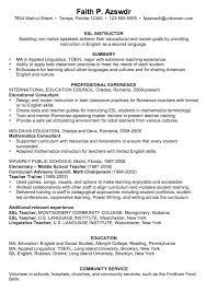 Chronological Resume Sample Esl Instructor Tesol Pinterest