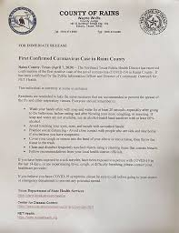 Every effort is made to ensure that information provided is correct. Rains County Reports 1st Covid 19 Case Ketk Com Fox51 Com