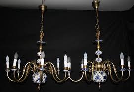 a vintage pair of similar flemish delft chandeliers blue on white ceiling lights ref anv10