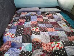 A Cozy Camping Quilt | so resourceful & I also bought two narrow feather pillows and made some pillow cases to go  with the quilt, and I have to say it was very cozy at night in our tent, ... Adamdwight.com