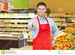 Store Manager Holding Thumbs Up Stock Image Image Of Praise