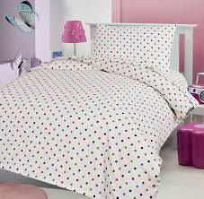 polka dot 100 brushed soft cotton thermal flanelette cot bed complete set duvet cover and pillow case 120 x 150 cm with ed sheet 70 x 140 cm