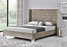 king size mattress. Image Is Loading Wing-Back-Bed-Frame-Upholstered-Fabric-Velvet-Chenille- King Size Mattress