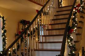 Stairs Decorations Garland Lights Also Red Ribbons Design