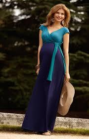 Jewel Block Maternity Maxi Dress Biscay Blue Maternity Wedding