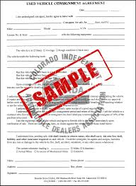 consignment form for cars store 18 used vehicle consignment agreement duplicate colorado