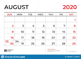 August 2020 Calendar Template Desk Calendar Layout Size 9 5