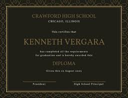 high school diploma certificate templates canva brown elegant pattern high school diploma certificate