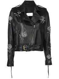 nicole miller fl embroidered biker jacket