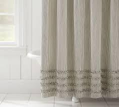 image of ticking stripe shower curtain ruffle