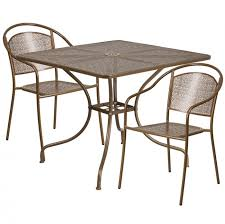 flash furniture 35 5 square indoor outdoor steel patio table set w 4 round back chairs