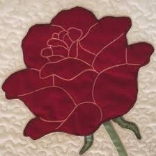 rose applique quilt pattern | The flower is one large piece, with ... & rose applique quilt pattern | The flower is one large piece, with the  petals outlined Adamdwight.com