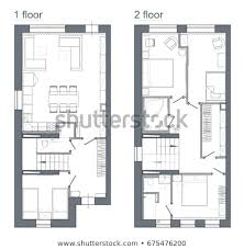 Apartment Design Drawing Plan Of Two Story Apartment Shutterstock Drawing Plan Two Story Apartment Stock Illustration Royalty Free