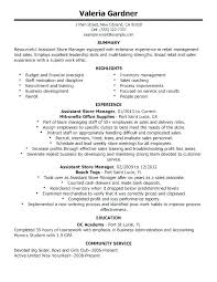 Resume For Retail Manager Skills Resume Retail Assistant Manager