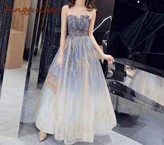 <b>FENGGUILAI</b> New Blue Women Dress Lace Sleeveless Wedding ...