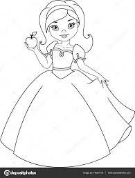 Snow White Coloring Page Stock Vector Malyaka 148311119