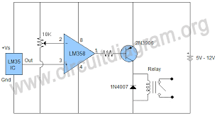 temperature sensing switch using lm35 lm358 circuit diagram temperature sensing switch using lm35 lm358