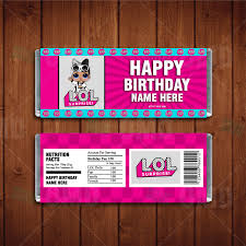 Chocolates Wrappers Lol Surprise Dolls Custom Candy Bar Wrappers Cartoon Invites