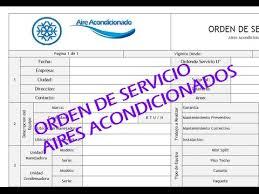 Formato De Hoja De Servicio Formato De Orden De Servicio Aire Acondicionado