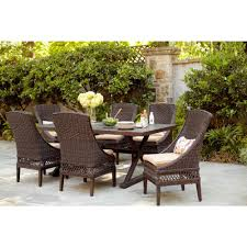 wicker patio dining furniture. Brilliant Patio Hampton Bay Woodbury 7Piece Wicker Outdoor Patio Dining Set With Textured  Sand Cushions On Furniture I