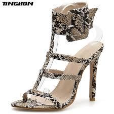Dress <b>Tinghon</b> Summer Serpentine High Heels Sandals Women ...