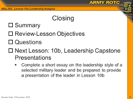 msl lesson a leadership analysis revision date  11 11