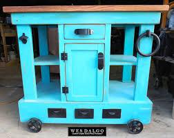 kitchen island cart industrial. Modern Industrial Tall Kitchen Island Cart With Centered Cabinet Teal Wes Dalgo Y