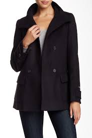 image of barbour maritime wool blend peacoat