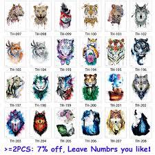Glaryyears 24 конструкции 1 лист животных татуировки Th стикеры волк тигр прохладный Pattern