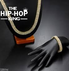 high quality men s gold color hip hop jewelry set iced out 30 3 row rhinestone bling bling 30inch chain 8 inch bracelet