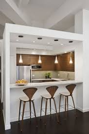 splendid kitchen furniture design ideas. Decoration: Clean White Kitchen Completed With Alluring Mini Marble Top Bar Table And Four Hanging Splendid Furniture Design Ideas