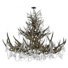 visual comfort rl5530bn cg ralph lauren straton triple tier chandelier in natural antler with antiqued crystal