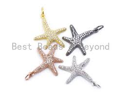 cz micro pave starfish pendant charm cubic zirconia charm silver gold rose gold black tone 22x30mm sku f122