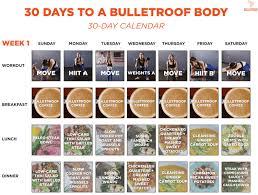 Bulletproof Food Chart 30 Day Bulletproof Body Workout Plan