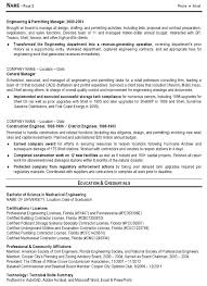 Sample Rresume Engineering Management And Permiting Manage Tips For