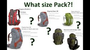 Backpack Volume Chart What Size Hiking Backpack Visual Comparison By Onza04