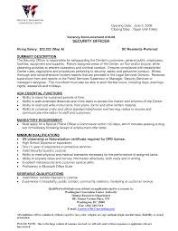 Security Officer Resume Skills Resume Work Template
