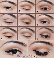 step by step makeup tutorial for brown eyes brown crease with black flick