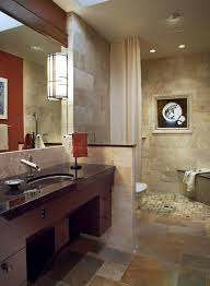 walk in shower curtain rod spaces contemporary with stone flooring bronze towel racks and stands