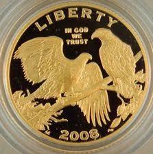 2008 w proof 5 gold bald eagle memorative