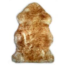 sheepskin white brown rug