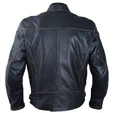 Details About Leather Jacket Motorcycle Old Vintage Style Ce Protectors Armor Ce
