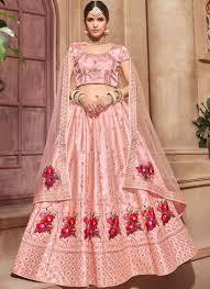 Light Pink Indian Wedding Dress Light Pink Color Satin Indian Wedding Lehenga Choli 4608