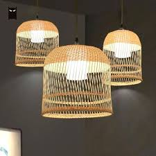 rattan lamp shade bamboo wicker lampshade birdcage pendant light fixture wire mini bulb pendent for kitchen hallway wicke