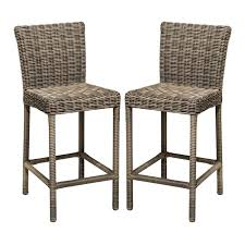 tkc cape cod outdoor wicker bar stools in vintage stone set of 2 tkc204b bs