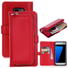 leather wallet case for samsung galaxy s7 detachable removable flip cover cases card slot zipper money pocket protective back shell cell phone cases and