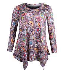 Zerdocean Size Chart Zerdocean Womens Plus Size Long Sleeve Printed Tunic Flowy